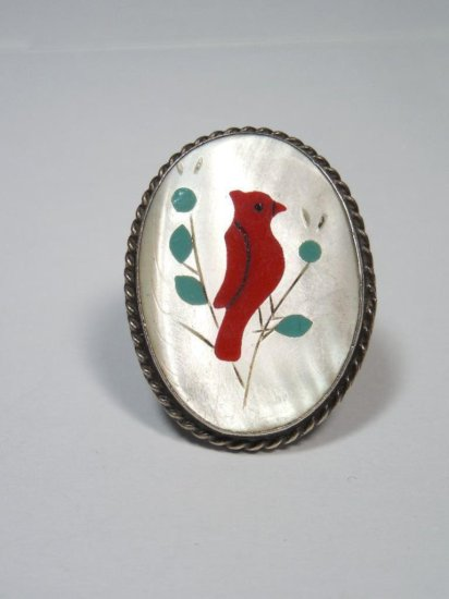 Native American Cardinal Red Bird Sterling RIng