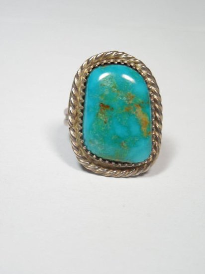 Fine Turquoise Native American Sterling Silver Ring