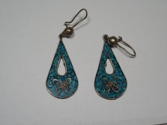 Pair Sterling Silver Native American Earrings - Turquoise