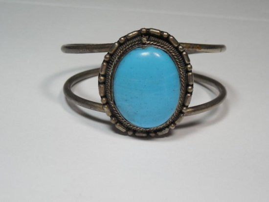 Large Turquoise Sterling Silver Bracelet - Native American