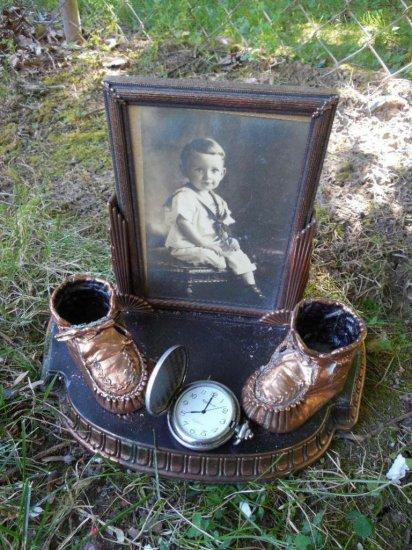 Old Baby Shoes Frame + Pocket Watch