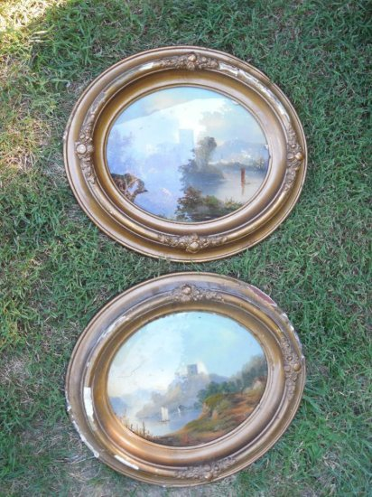 2 1870s Reverse Painted Glass Paintings in Frames