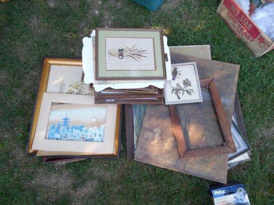 Huge Lot Vintage Framed Art Inc. Signed