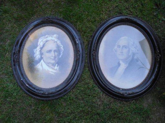 2 Old George Martha Washington Prints w/Paint accents