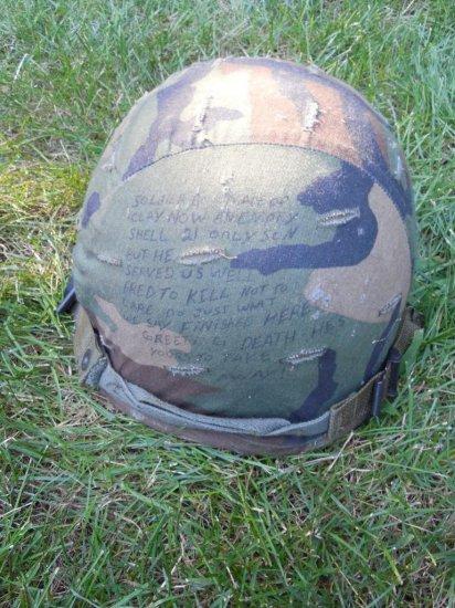 Vintage Military Helmet w/Metallica Writing