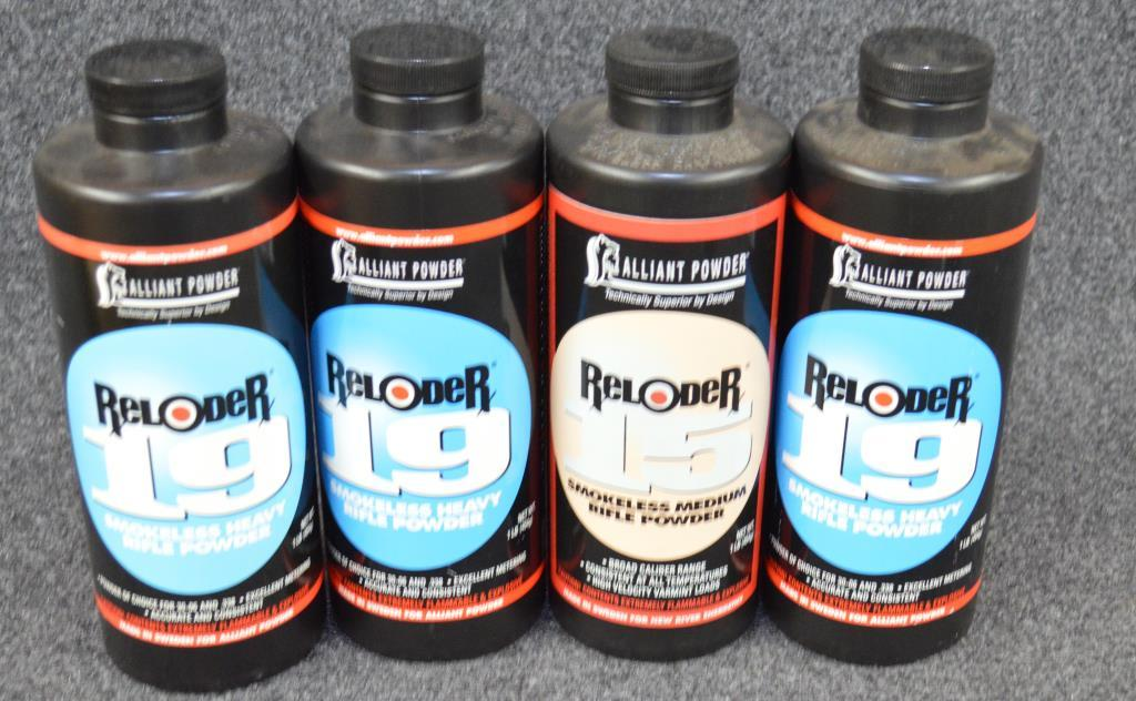 Lot: (4) unopened Alliant powder, 3 are reloader 19 and