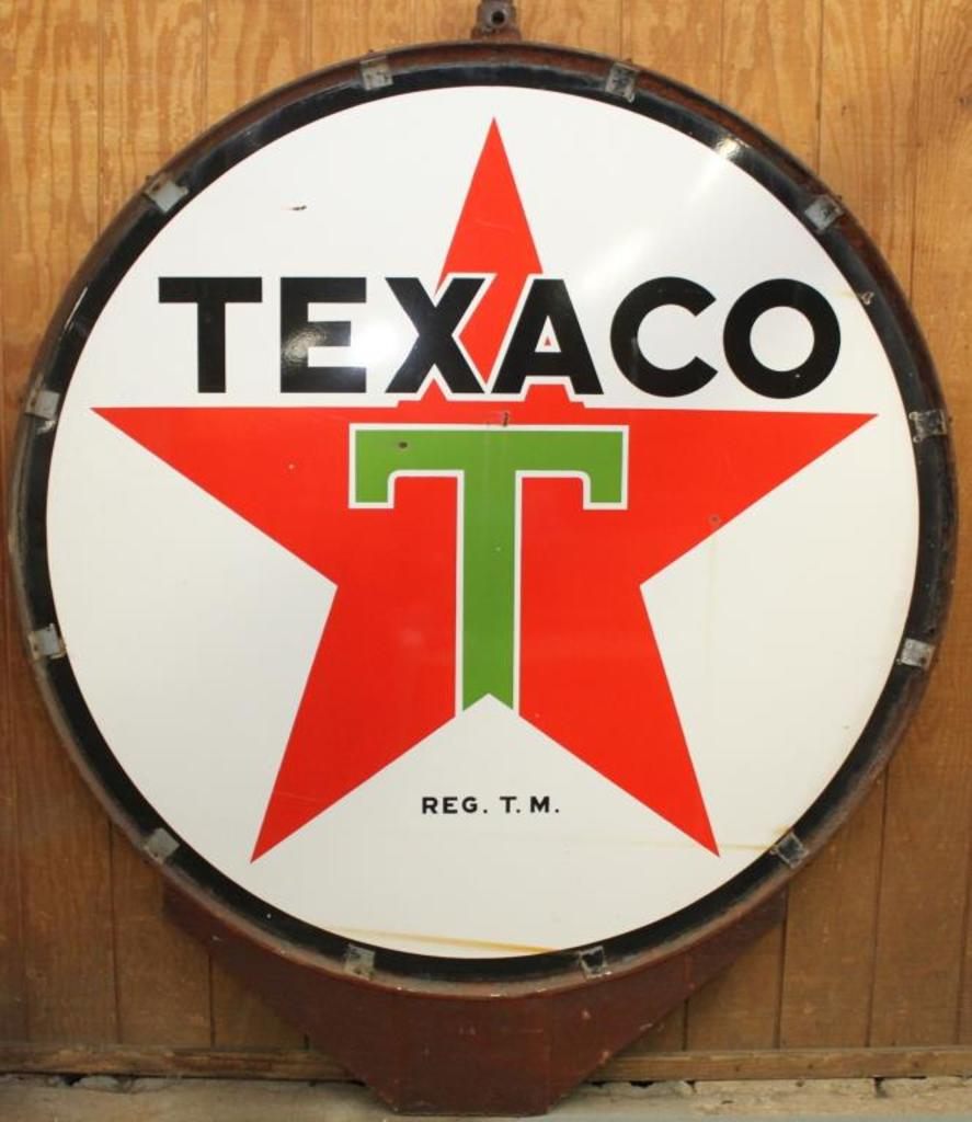 Lot: Texaco Porcelain lollipop dealer sign in original