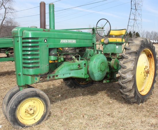 1949 JD A tractor, Serial No. 627848