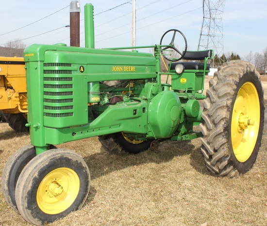 1949 JD A tractor, new paint, Serial No. 626340