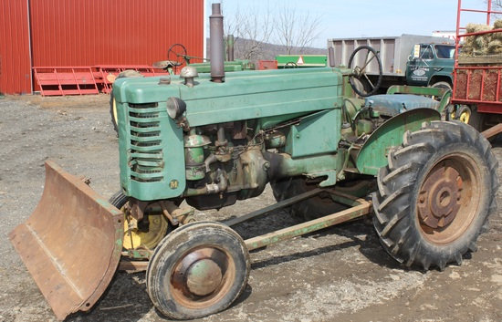 1950 JD M tractor w/front blade, Serial No. 42432