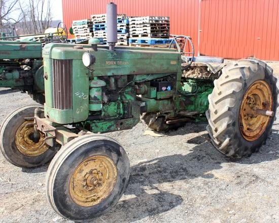 1956 JD 420 tractor, wf, 3 pt., Serial No. 82949