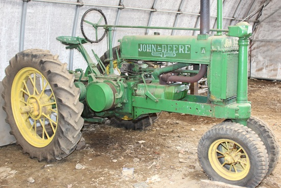 1936 JD A tractor, unstyled, hi-low range, Serial No. 474956