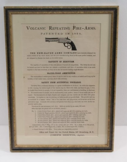 Original Period Volcanic Repeating Fire-Arms advertising broadside.