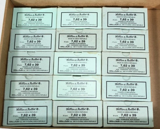 (15) 20 round boxes Sellier & Bellot 7.62x39mm non-corrosive, most boxes marked 83 94 or 82 94