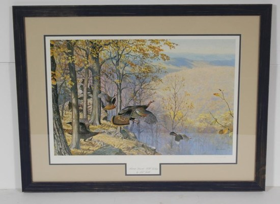 """Autumn Descent-Wild Turkeys"" framed print by Ned Smith, signed 196/950, 34""x26"""
