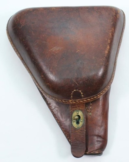 Brown leather hard shell type 14 Nambu holster with tool in very good condition.