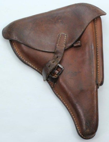 "dta/41 P.O8 brown leather holster with Waffenamt marking WaA195 inside ink mark ""QL/2246"""