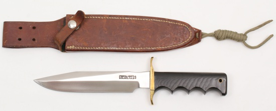 """Randall Model 16 Dive knife having a 7"""" double edged stainless blade"""