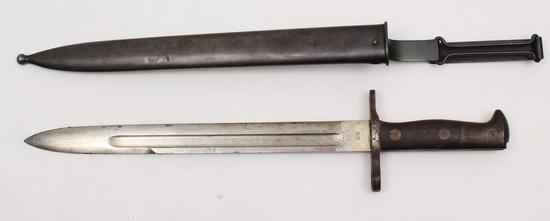 "Bayonet - Model 1898 U.S. Krag Jorgensen bayonet, dated ""1898"" with ""US"" mark on opposite side."