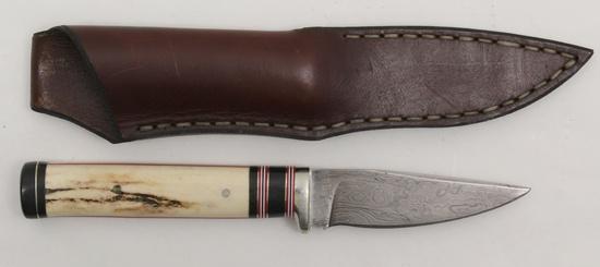 "Wayne Custom Damascus fixed blade knife.  3.75"" blade, 4.75"" stag handle"