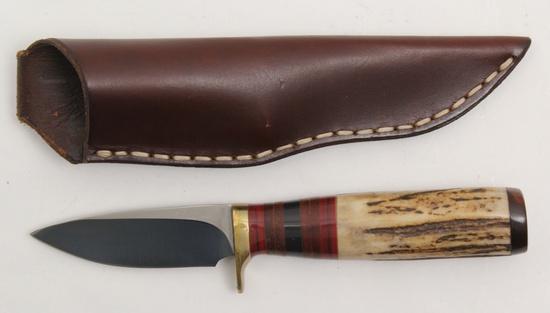 "Wayne Custom fixed blade knife.  3.25"" blade, 4.5"" stag handle"