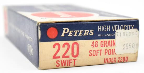 .220 Swift ammunition - (1) box Peters High