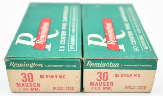 30 Mauser 7.63 mm ammunition - (2) boxes