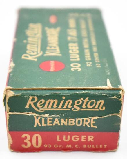 30 Luger 7.65mm ammunition - (1) box Remington