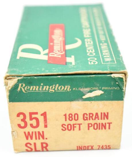 351 Win. SLR ammunition - (1) box Remington 180 gr