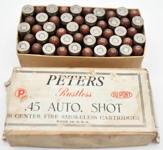 Rare .45 auto shot ammunition - (1) box Peters