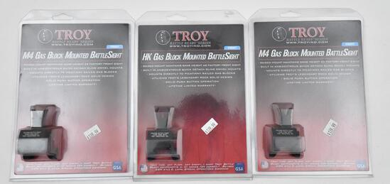 (3) Troy gas block mounted battle sights, two are