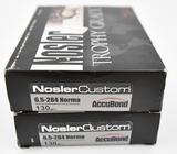 6.5-284 Norma ammunition (2) boxes Nosler