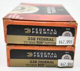 338 Federal ammunition (2) boxes Federal