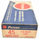 .45 Auto Rim ammunition - (1) Peters 230 gr. Lead