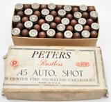 Rare .45 auto shot ammunition - (1) box Peters