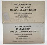 41 Long Colt ammunition - (2) boxes Winchester -