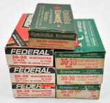 .30-30 Win. ammunition (7) boxes assorted