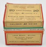 Rare .41 Swiss Rim-Fire ammunition - (1) box