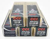 .22LR Ammunition (5) boxes CCI mini-mag
