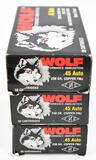 .45 Auto ammunition (3) boxes Wolf 230 grain