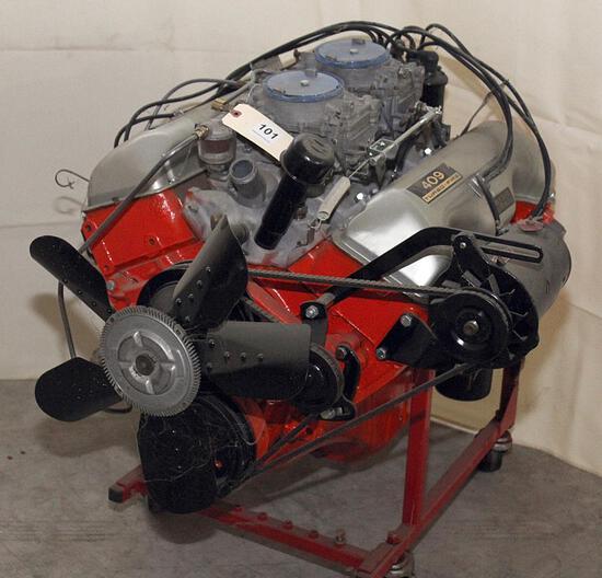 Chev. 409 Turbo Fire engine on storage stand