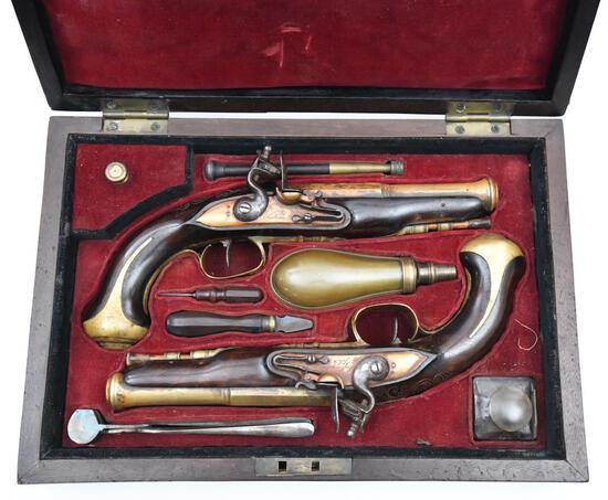 "* Cased set of LeFeure et Fils, Brass barreled Blunderbuss pistols, .593"" diameter bores,"