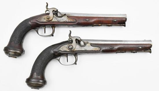 * Fourni Par Lepage Paris, Pair of French Officers' holster pistols, .68 cal,
