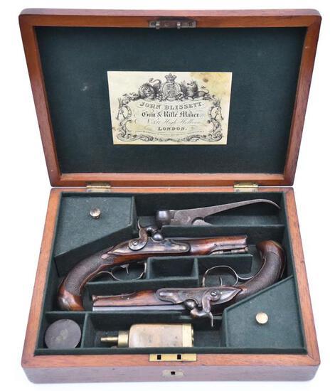 """* Cased set of John Blissett ?, Cap and ball pocket pistols, .50"""" diameter bore,"""