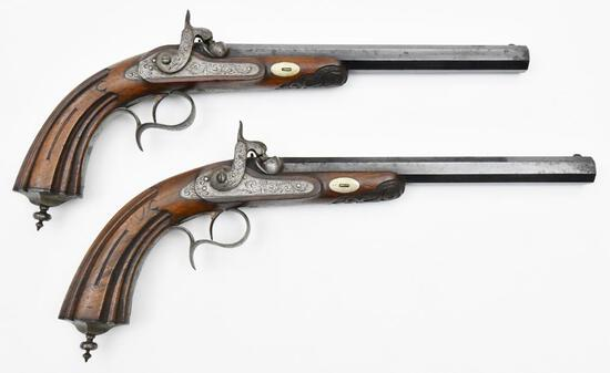 """* Unknown French Manufacturer, Dueling Pistol Set, 0.4915"""" diameter bore,"""