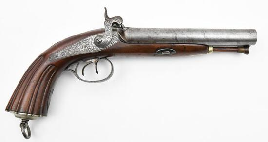 "* Belgium Manufactured, Howdah double barrel, 0.675"" diameter bore, muzzleloading pistol,"