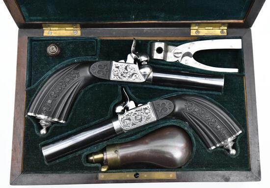 * Beautiful Cased Set Unknown Manufacturer, Pair of Cap & Ball Pocket Pistols, .45 cal,