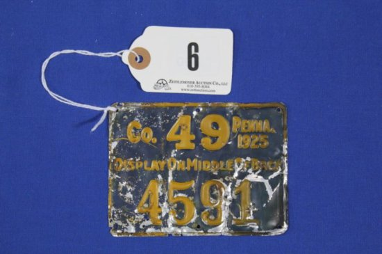 Pa 1925 Metal Hunting License,county 49, Poor Cond