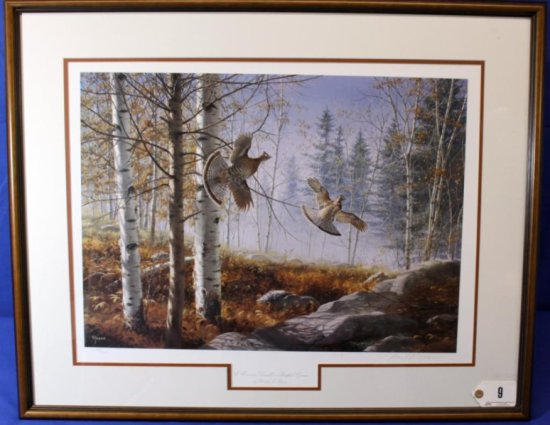 A Morning Double - Ruffed Grouse Print,