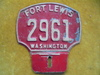 OLD FT. LEWIS WASHINGTON LICENSE PLATE OR TOPPER